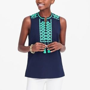J Crew Embroidered Tank navy and green